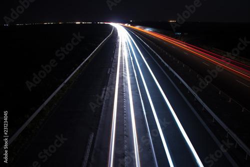 Deurstickers Nacht snelweg Highway white side light