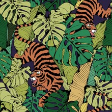 Tiger In Tropical Leaves. Crouching Tiger. Seamless Vector Pattern