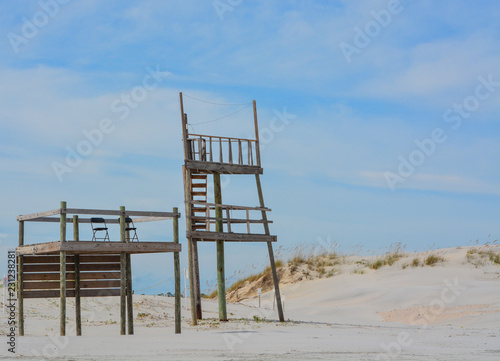 Photo Life Guard Station and Tower on the Atlantic Ocean in Duval County, Jacksonville