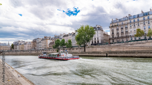 Paris Panorama Of The Quai De Conti With A Houseboat On The Seine