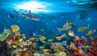 Leinwanddruck Bild underwater paradise background coral reef wildlife nature collage with shark manta ray sea turtle colorful fish background