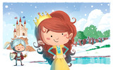 niños caballero y princesa con castillo
