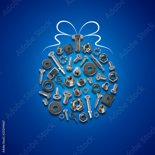 Fotografía  bolts, nuts, nails, screws, tools christmas decorations blue