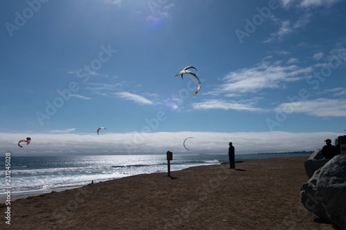 Fotografie, Obraz  Kite surfing on the Pacific Ocean, Waddell Beach, California