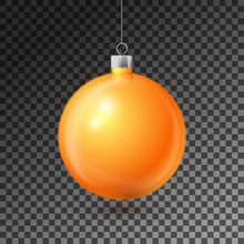 Realistic Orange Christmas Ball With Silver Ribbon, Isolated On Transparent Background. Merry Christmas Greeting Card. Vector Illustration