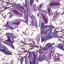 Purple Botanical Floral Seamless Vector Textile Pattern