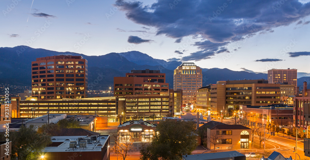 Fototapety, obrazy: Downtown Colorado Springs at Dusk