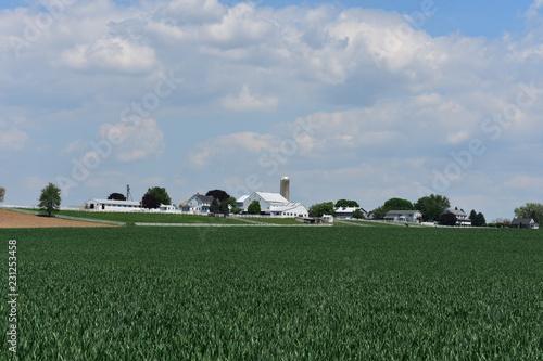 Valokuvatapetti Beautiful Lancaster County Farmland with Silos, a Barn and Fields