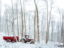 Abandoned Tractor In The Snow, Pollution