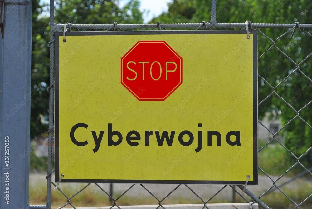 Fototapeta Uwaga, cyberwojna