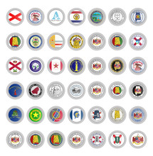 Set Of Vector Icons. Flags Of Alabama State. 3D Illustration.