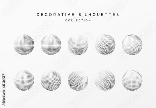 Fotografia Disco balls or round baubles silver color. Vector illustration.