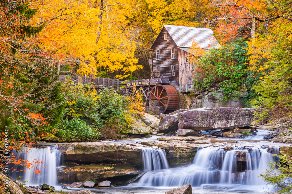 Fototapety, obrazy: Glade Creek Gristmill, West Virginia, USA  in Autumn