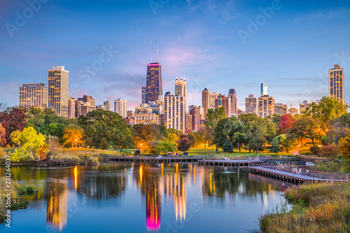 Photo sur Toile Chicago Lincoln Park, Chicago, Illinois Skyline