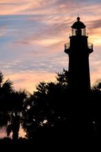 Lighthouse Silhouette At Sunrise On St Simons Island, GA