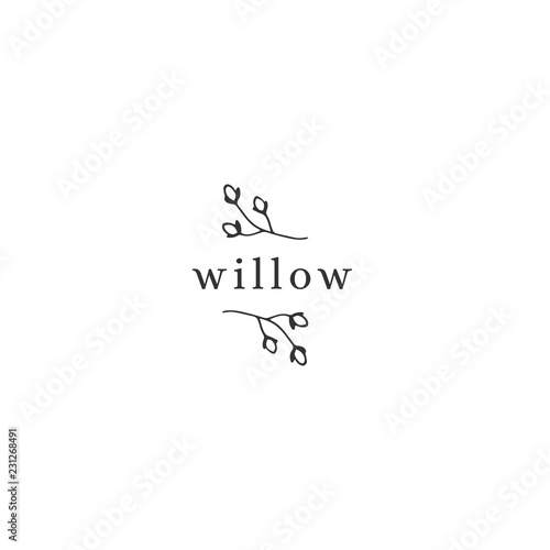 Fotografie, Tablou Vector hand drawn floral logo template in minimal style.