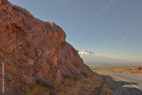 Spoed Foto op Canvas Diepbruine A scenic view of Mout Ararat from Armenia