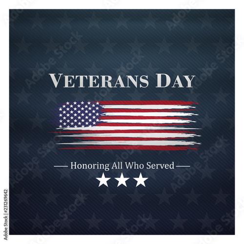 Fotografía  veterans day, November 11, honoring all who served, posters, modern brush design