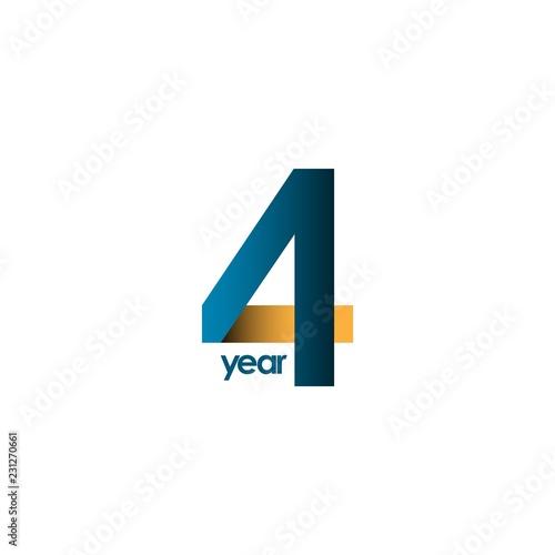 4 Year Anniversary Vector Template Design Illustration Tapéta, Fotótapéta