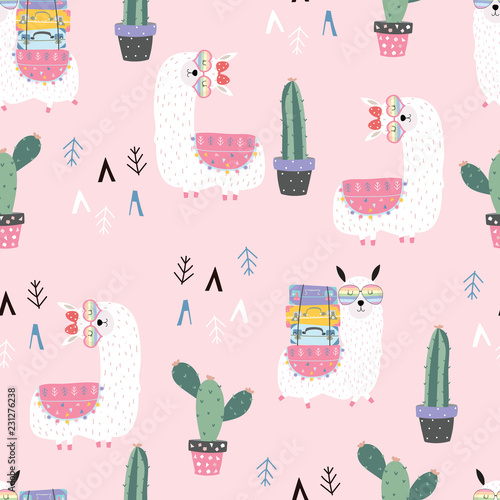 fototapeta na drzwi i meble Pink hand drawn cute seamless pattern with llama,wing, heart glasses,geometric,cactus in summer