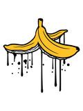 Fototapeta Młodzieżowe - tropfen graffiti lustig boden müll ausrutschen rutschig witzig obst banane lecker gesund essen bananenschale krumm clipart cartoon comic design