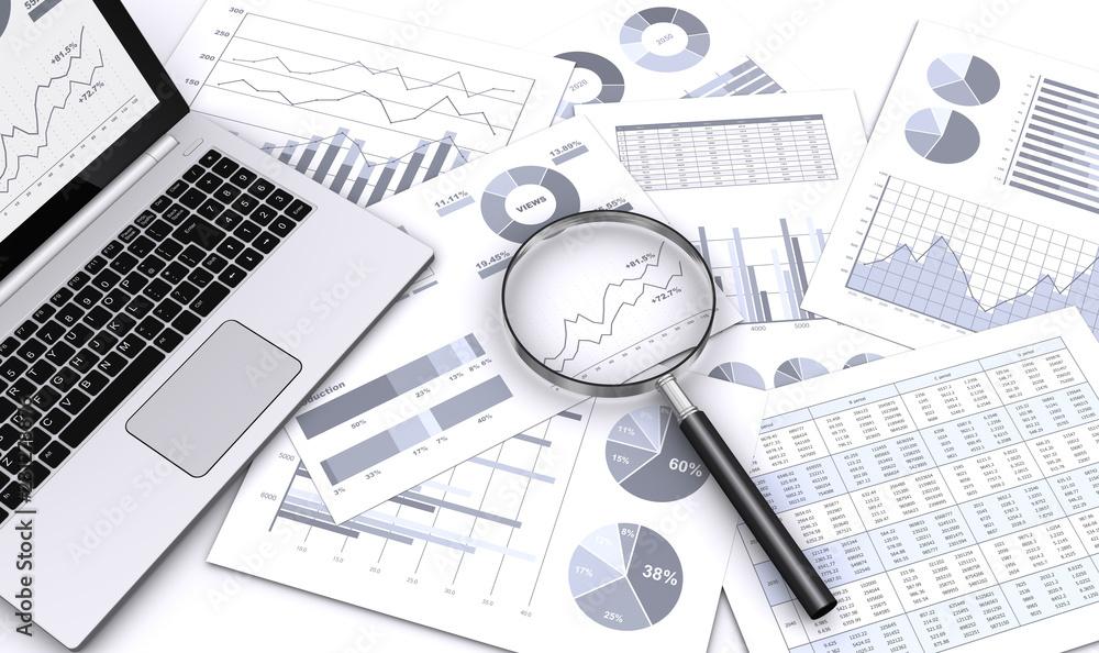 Fototapeta ビジネス資料をルーペで検索する