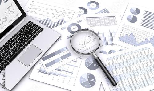 Fototapeta ビジネス資料をルーペで検索する obraz