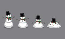 Snowman Melting Cartoon Vector...