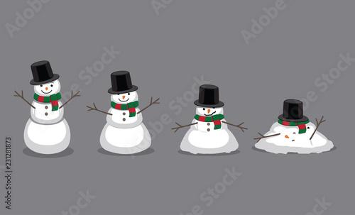 Fotografie, Obraz Snowman Melting Cartoon Vector Illustration