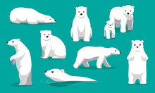Cute Polar Bear Swimming Carto...