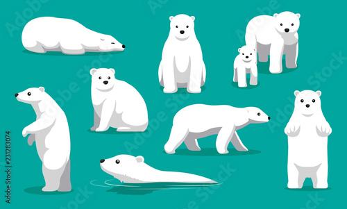 Fototapeta premium Ładny niedźwiedź polarny pływanie ilustracja kreskówka wektor