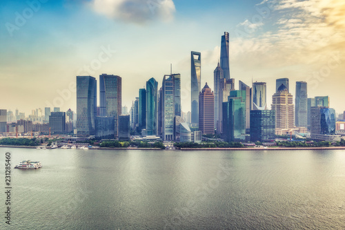 Spoed Foto op Canvas Aziatische Plekken Aerial panorama view on Shanghai, China. Beautiful daytime skyline with skyscrapers and the Hunapu river.
