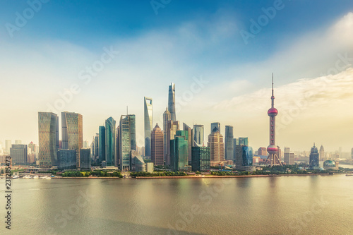 Spoed Foto op Canvas Aziatische Plekken Aerial view on Shanghai, China. Beautiful daytime skyline with skyscrapers and the Hunapu river.