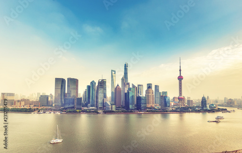 Aerial panorama view on Shanghai, China. Beautiful daytime skyline with skyscrapers and the Huanpu river.