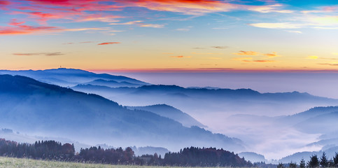 Scenic mountain landscape. View on the Black Forest, Germany, at sunset. Colorful travel background.