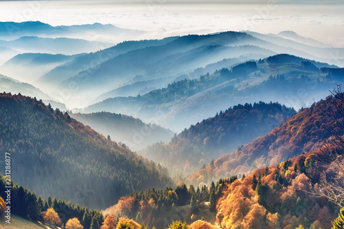 Ingelijste posters Blauwe jeans Scenic mountain landscape. View on the Black Forest, Germany, covered in fog. Colorful travel background.