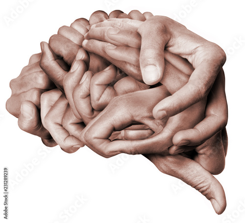 A human brain made with hands, different hands are wrapped together to form a brain Canvas-taulu