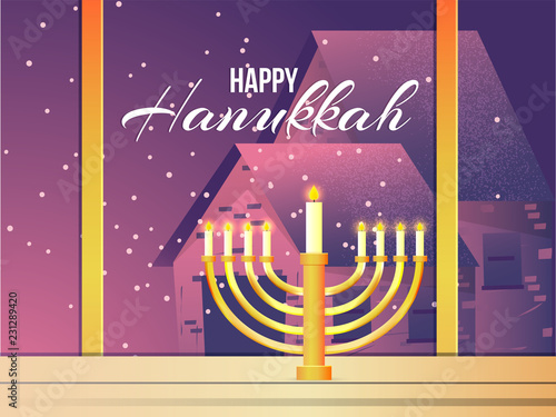 Window outside view with traditional candelabrum for Happy Hanukkah celebration Wallpaper Mural