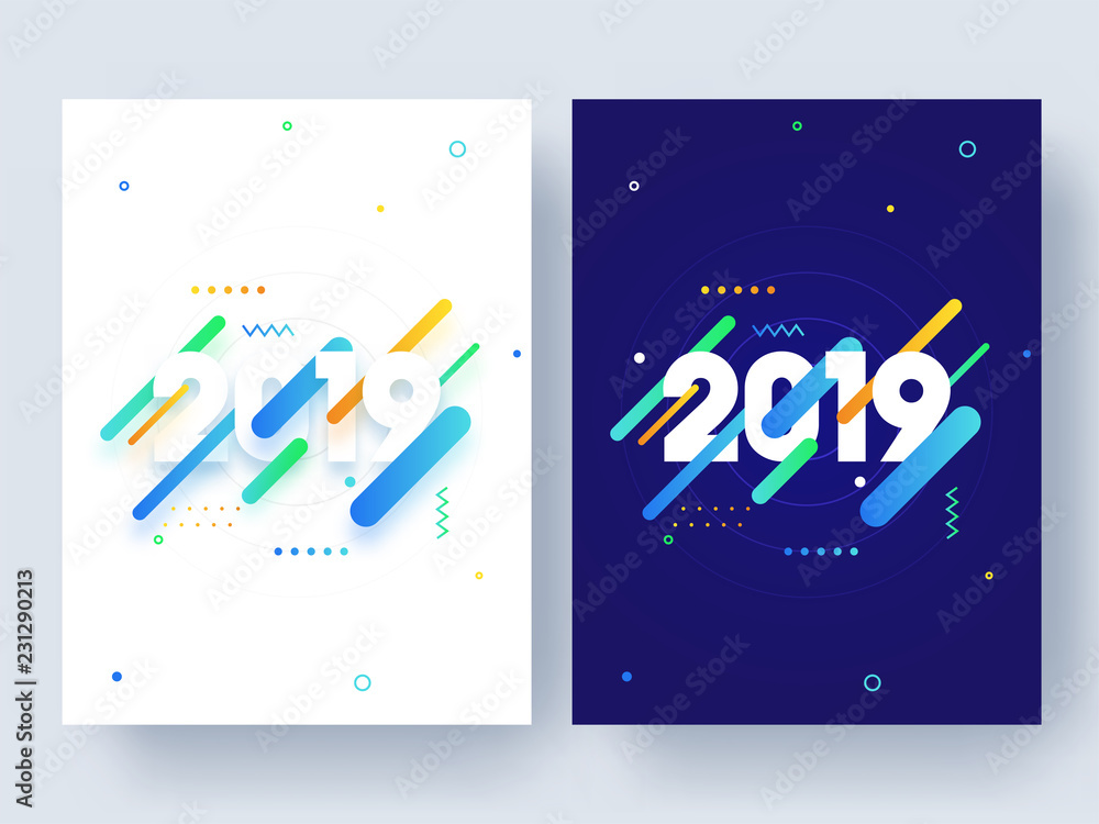 Fototapeta Set of template or flyer design with text 2019 on abstract background for Happy New Year celebration.