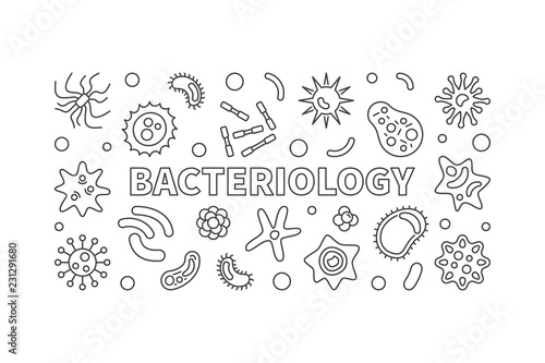 Bacteriology line banner. Vector bacteria illustration Canvas Print