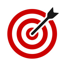 Red Target Bullseye With Arrow...