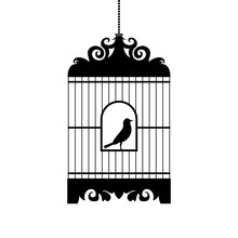 Bird In Cage Vector Silhouette.