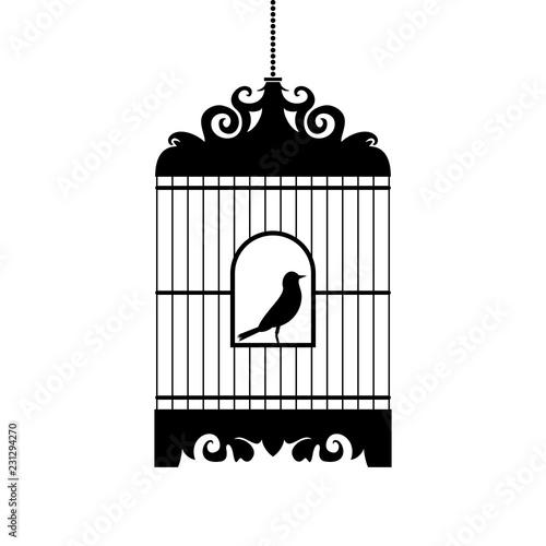 Fotografie, Obraz Bird in cage vector silhouette.