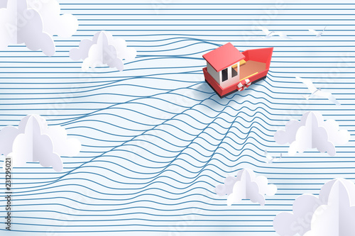 Fotografia  Paper art of red boat and striped sea, origami and travel concept