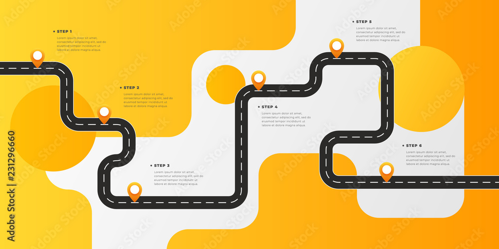 Fototapeta Infographic template winding asphalt road with pin-pointers. Vector EPS 10