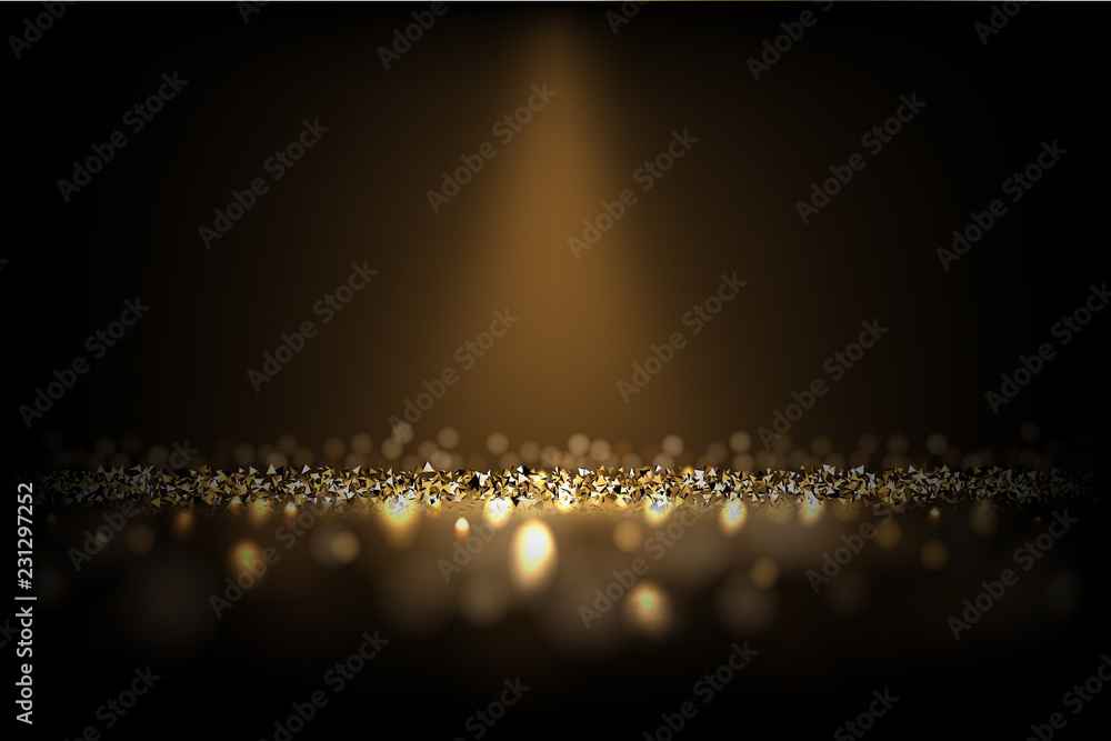 Dark luxury background. Vector shiny golden texture under light beam.