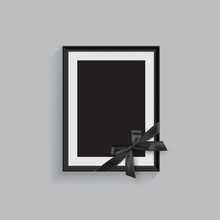 Black Mourning Frame With Black Ribbon Isolated On Gray Background. Vector Design Element.