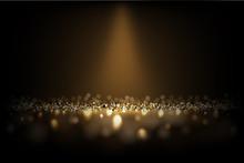 Dark Luxury Background. Vector Shiny Golden Texture Under Light Beam.