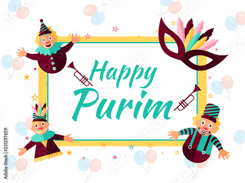 Photo Happy Purim greeting card design with funny jesters and masquerade on balloons decorated background for Jewish Holiday celebration