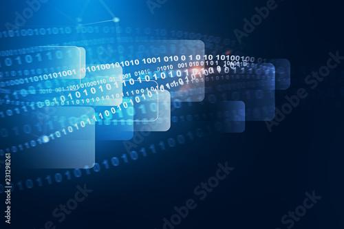 Valokuva  Dark blue and white lines of code interface